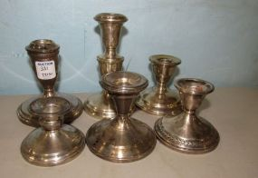 Six Weighted Sterling Candle Holders