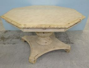Modern Distressed Painted Polygon Dining Table