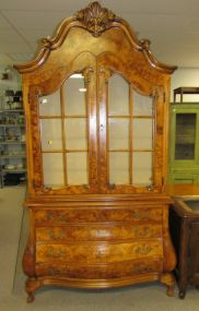 Italian Birds Eye Maple Display Cabinet
