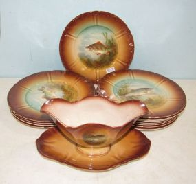 Franz Anton Mehlem Royal Bonn Germany Fish Plates