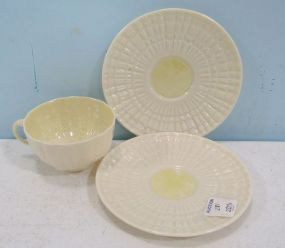 Belleek Cups and Two Saucers
