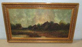 Vintage Oil on Canvas Village Scene