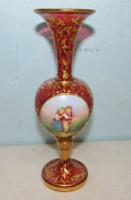 Rare Cranberry Glass Portrait Vase of Children