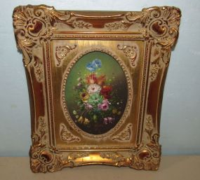 Floral Painting on Tin