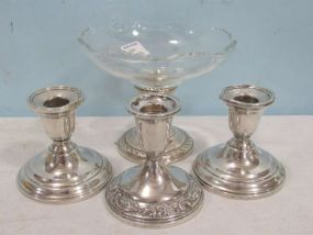 Three Weighted Sterling Candle Holders and Sterling Compote