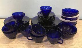France Arcoroc Cobalt Blue Glass Set