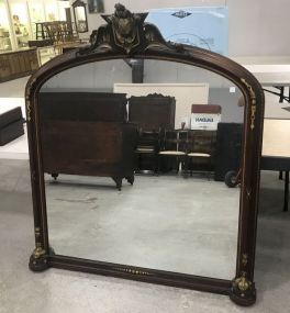 Large French Style Carved Wood Mantle Mirror