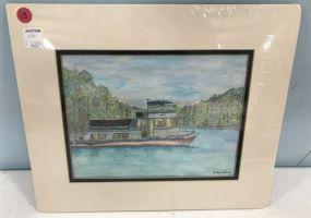 Pen and Watercolor of Boat by Kristen Selman