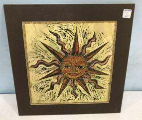 Drawing and Watercolor Face Sun Art