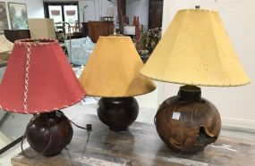 Three Wood Carved Round Table Lamps