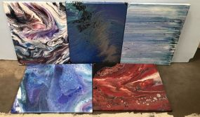 Five Drip Abstract Paintings on Canvas
