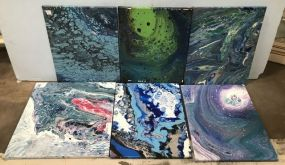 Six Drip Abstract Paintings on Canvas