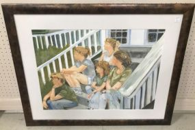 Watercolor of Family on Porch Steps by Dee Dee Baker