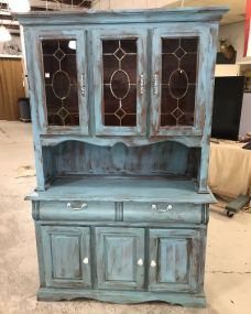 Painted Distressed Two Section China Cabinet