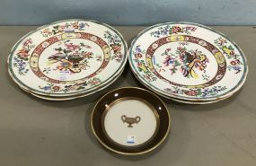 Four Hand Painted Oriental Style Plates and