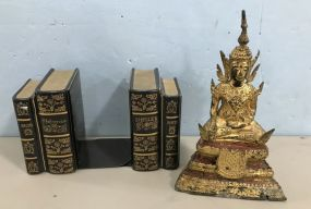 Faux Metal Bookends and Replica Ming Metal Statue
