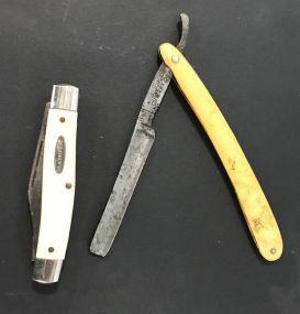 Vintage A.J. Jordan Razor and 3 Bladed Ranger Pocket Knife