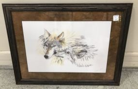 Wolf Drawing Signed