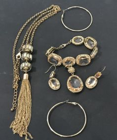 Gold Color Necklace, Earrings, and Bracelet