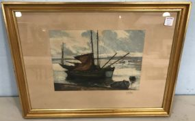 Framed Sail Boat Print by L. Callov