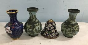 Cloisonne Vases and Bell