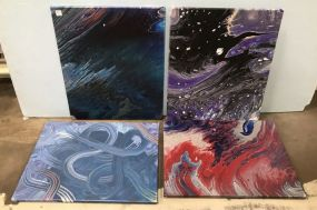 Four Dip Abstract Paintings