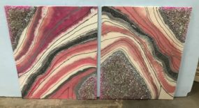 Pair of Dip Abstract Paintings with Crystal Decor