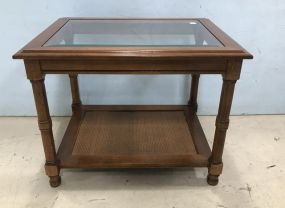 Glass Top Two Tier Side Table