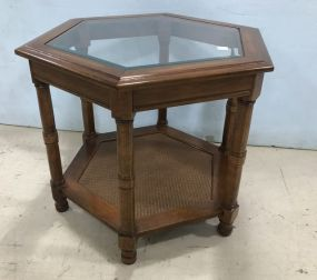 Glass Top Tow Tier Octagon Side Table
