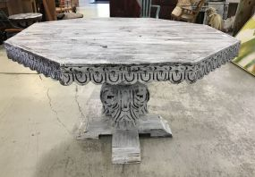 Polygon White Painted Pedestal Table