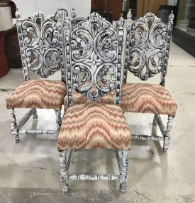 White Painted Renaissance Style Dinning Chairs