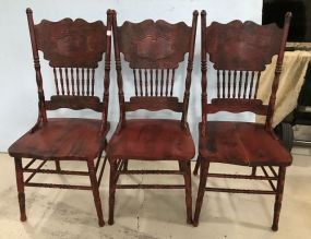 Three Painted Red Pressed Back Chairs