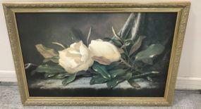 Gold Gilt Framed Magnolia Giclee Painting