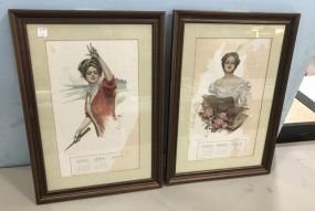 Pair of Vintage Lady Calendar Prints