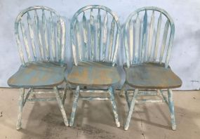 Three Painted Spindle Back Side Chairs
