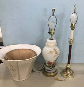 Glass Urn Style Lamp and Brass Pole Table Lamp