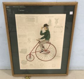 Decorative Print of Unicycle Bicycle Rider