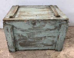 Hand Made Painted Primitive Style Storage Trunk