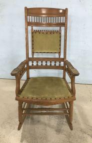 Vintage Oak Arm Chair Rocker