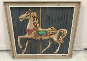 Wood Panel Painted Horse Decor