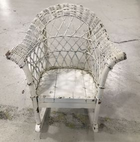 Vintage Painted White Wicker Child's Chair
