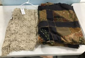 Hand Made Quilt and Crocheted Table Cloth