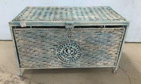 Painted Rattan Storage Box