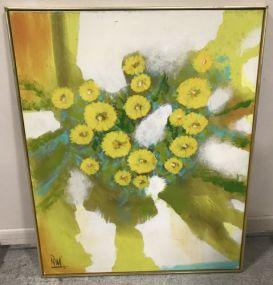 Large Signed Sunflower Painting