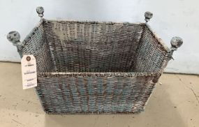 Painted Rattan Magazine Basket