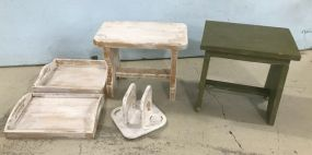 Painted Trays, Napkin Holder, and Stool