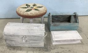 Painted Stool, Handled Box, Two Trinket Boxes