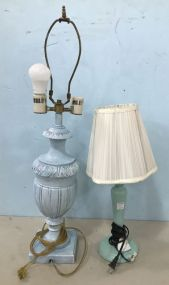 Two Painted Table Lamps