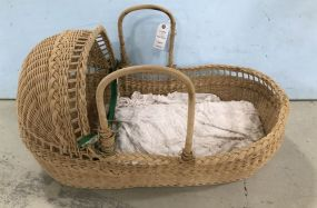 Large Wicker Doll Cradle