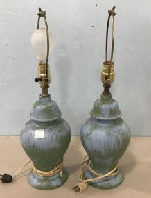 Pair of Painted Glass Vase Lamps